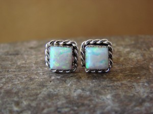 Native American Jewelry Sterling Silver White Opal Post Earrings! Zuni Indian