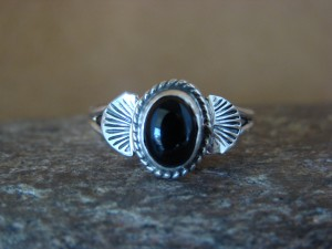 Native American Indian Jewelry Sterling Silver Onyx Ring, Size 9 Mariano