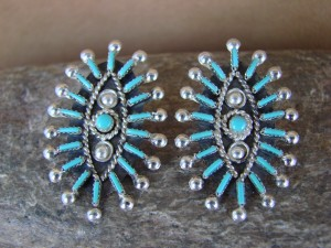 Native American Sterling Silver Turquoise Post Earrings by Philander Gia! Zuni