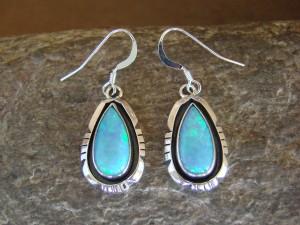 Native American Sterling Silver Blue Opal Dangle Earrings! Amos Begay