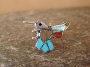 Zuni Indian Sterling Silver Multi-Stone Inlaid Hummingbird Pendant by Natewa
