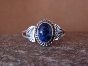 Native American Indian Jewelry Sterling Silver Lapis Ring, Size 5 Mariano