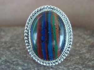 Native American Jewelry Sterling Silver Calsilica Ring!  Size 8