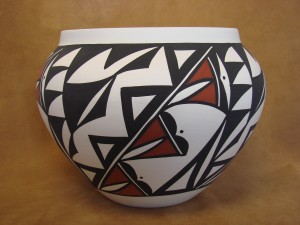 Native American Acoma Indian Pottery Hand Painted Pot by Leilanie Miller