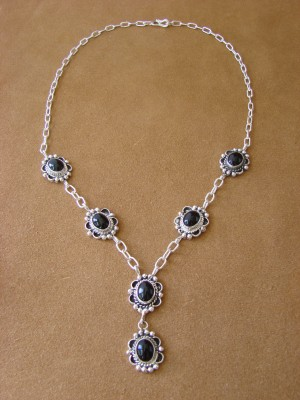 Native American Jewelry Onyx Sterling Silver Necklace by Jan Mariano