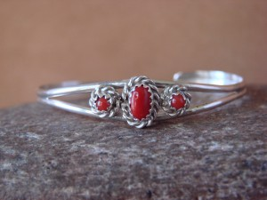 Small Navajo Indian Sterling Silver Coral Child's Bracelet by Cadman!