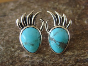 Navajo Indian Jewelry Sterling Silver Turquoise Bear Claw Post Earrings!