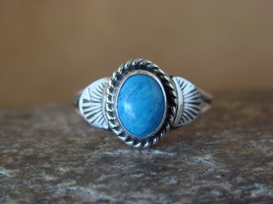 Native American Indian Jewelry Sterling Silver Denim Lapis Ring, Size 5 Mariano