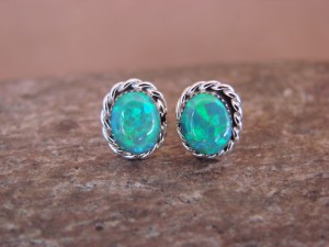 Native American Jewelry Sterling Silver Green Oval Opal Post Earrings! Zuni Indian