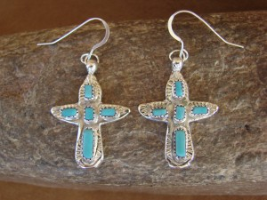 Zuni Indian Sterling Silver Turquoise Cross Earrings! Signed!