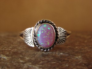 Native American Indian Jewelry Sterling Silver Pink Opal Ring, Size 9 Mariano