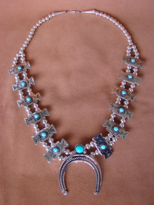 Native American Jewelry Turquoise Squash Blossom Necklace by Phoebe Tolta