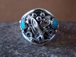 Navajo Indian Sterling Silver Turquoise Handmade Eagle Ring by Yazzie! Size 10 1/2