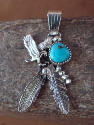 Native American Jewelry Handmade Sterling Silver Turquoise Eagle Pendant!