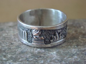 Native American Jewelry Sterling Silver Storyteller Ring - Size 10 1/2 by E. Becenti LC0153