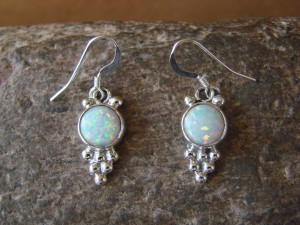 Native American Sterling Silver Opal Dangle Earrings! Gary Shorty