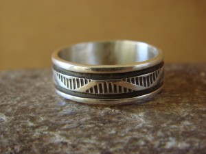 Native American Jewelry Sterling Silver Ring Band by Bruce Morgan! Size 11 1/2