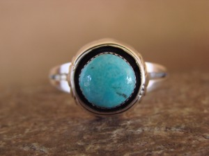 Native American Indian Jewelry Sterling Silver Shadowbox Turquoise Ring, Size 8 1/2, Yazzie