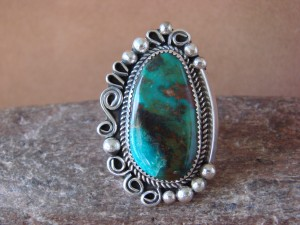 Native American Sterling Silver Turquoise Ring Size 10, by Leslie Nez