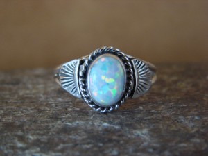 Native American Indian Jewelry Sterling Silver White Opal Ring, Size 5  Mariano