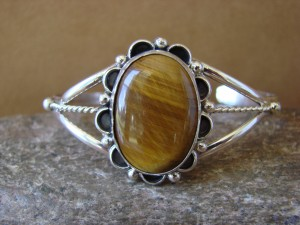 Native American Indian Jewelry Sterling Silver Tiger Eye Bracelet