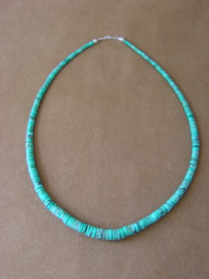 Native American Indian Hand Strung Turquoise Graduated Bead Necklace