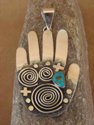 Native American Sterling Silver Turquoise Petroglyph Pendant by Alex Sanchez!
