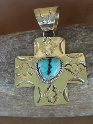 Native American Brass & Turquoise Cross Pendant Bobby Cleveland
