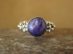 Native American Indian Jewelry Sterling Silver Charoite Ring, Size 8  D Kenneth