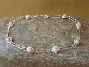 Zuni Indian Jewelry Pink Shell Sterling Silver Link Bracelet! Rosie Laweka