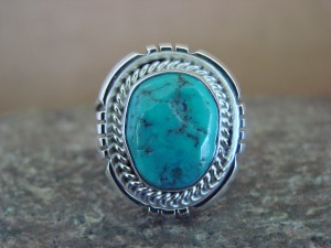 Native American Indian Jewelry Sterling Silver Turquoise Ring, Size 7 S. Yellowhair