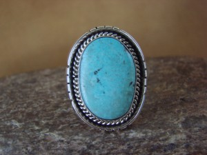 Native American Jewelry Sterling Silver Turquoise Ring, Size 8 Yellowhair