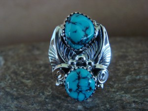 Native American Jewelry Sterling Silver Turquoise Ring, Size 7 Rita Montoya