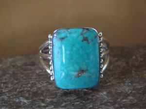Native American Jewelry Sterling Silver Turquoise Ring, Size 13 Sharron Smith