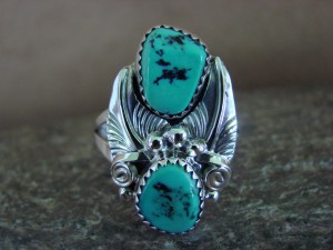 Native American Jewelry Sterling Silver Turquoise Ring, Size 9 Rita Montoya