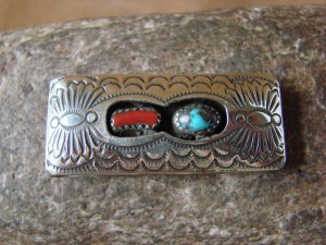 Navajo Indian Jewelry Turquoise Coral Hand Stamped Money Clip! Sterling Silver