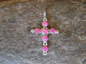 Zuni Indian Jewelry Sterling Silver Pink Opal Cross Pendant by Gerald Siutza