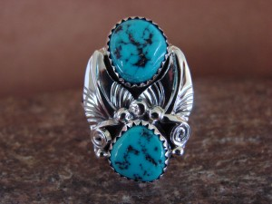 Native American Jewelry Sterling Silver Turquoise Ring, Size 8 Rita Montoya