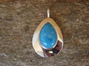 Native American Navajo Sterling Silver & Denim Lapis Pendant