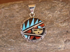 Native American Indian Jewelry Turquoise and Coral Inlay Sunface Pendant