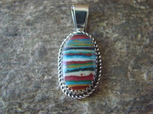 Navajo Indian Jewelry Sterling Silver Rainbow Calsilica Pendant! G. Boyd