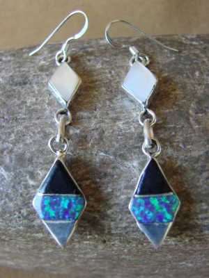 Zuni Indian Jewelry Sterling Silver Inlay Earrings Jonathan Shack -LL0162