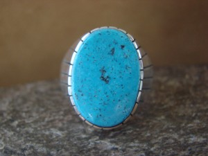 Native American Jewelry Sterling Silver Turquoise Inlay Men's Ring! Size 13 RJ