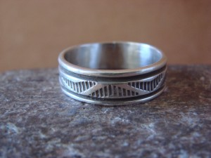 Native American Jewelry Sterling Silver Ring Band by Bruce Morgan! Size 12 1/2