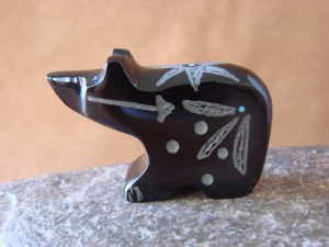 Zuni Indian Hand Carved Black Marble Bear Fetish Carving Russell Shack!