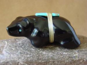 Zuni Indian Hand Carved Black Jet Bear Fetish by Herbert Halate!