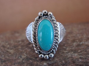 Native American Indian Jewelry Sterling Silver Turquoise Ring, Size 8 1/2 Mariano