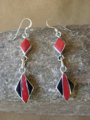 Zuni Indian Jewelry Sterling Silver Inlay Earrings Jonathan Shack - LL0165