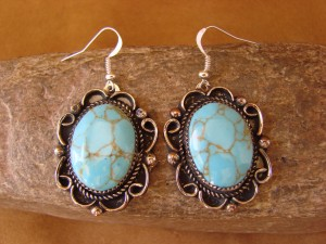 Native American Nickel Silver Turquoise Dangle Earrings by Jackie Cleveland 7-001