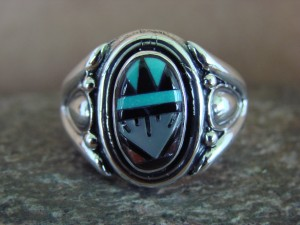 Zuni Indian Sterling Silver Turquoise Inlay Ring Size 10 1/2 - Leslie Lamy